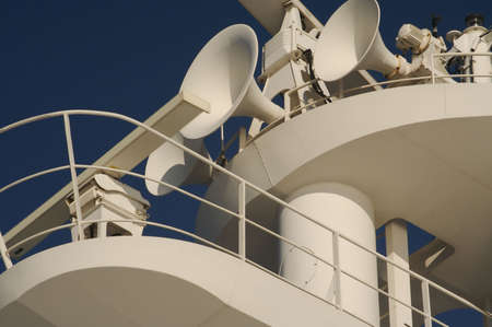 cruis: Taken on a cruise ship during a day at sea. Cruise ship radar and signaling equipment. Please see my other variations on the cruis Stock Photo