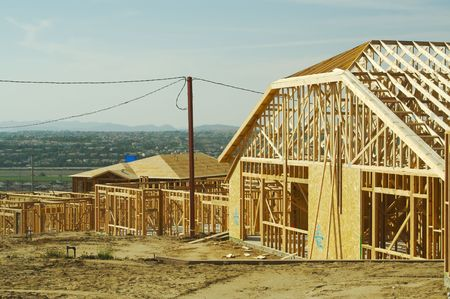 New residential construction home framing. photo
