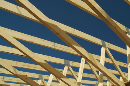 wooden joists: New residential construction home framing.