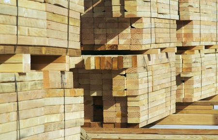 Stack of construction wood in a new residential community. Stock Photo - 1391183