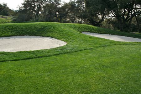 level playing field: Abstract of bunker and putting green. Stock Photo