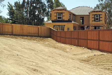 housing lot: New Home Construction Site and Dirt Lot Stock Photo