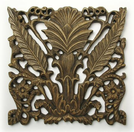 celtic symbol: Ornate Wood Carving Ornament on White Background Stock Photo
