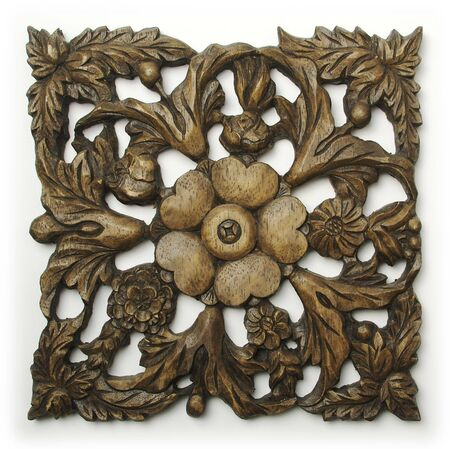 Ornate Wood Carving Ornament on White Background Stock Photo