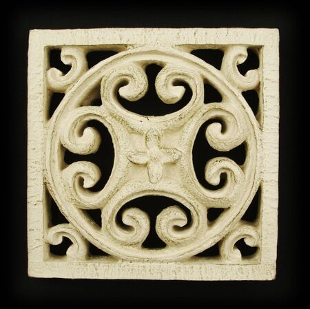 celtic background: Ornate Wood Carving Ornament on Black Background