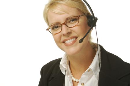 A beautiful friendly secretary/telephone operator. Stock fotó