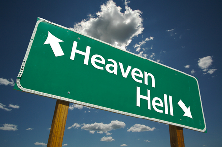 Heaven, Hell Road Sign with dramatic clouds and sky. Versatile image. Stock Photo - 1479795