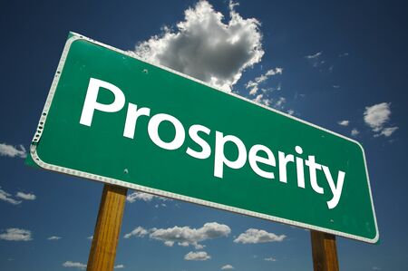 Prosperity Road Sign with dramatic clouds and sky. Versatile image. Stock Photo - 1479790