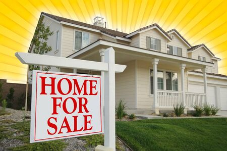 Home For Sale sign & Beautiful New House on Star-burst Yellow Background. photo