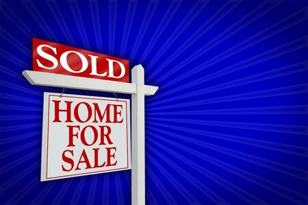 Sold Home For Sale sign on Blue Burst Background - Ready for your won message to the right. photo