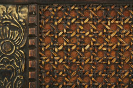 Close-up of Antique Weave & Floral Relief Pattern photo