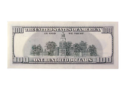cash back: The Back of a One Hundred Dollar Bill on a White Background.