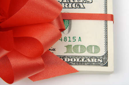 Red Ribbon Wrapped Hundreds Stock Photo - 1767651