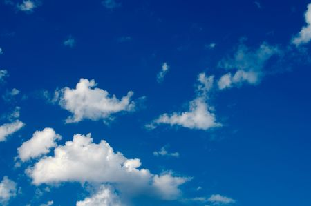 Beautiful clouds on a deep blue sky. Stock Photo - 1833780