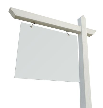 Blank Real Estate Sign Isolated on a White Background photo