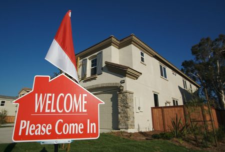 Welcome, Please Come In Open House Real Estate Sign and New Home. photo