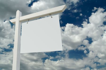 real estate sold: Blank Real Estate Sign on Clouds & Sky Background