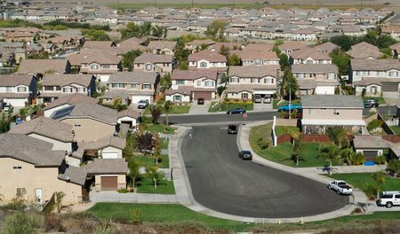elevated view: Elevated View of New Contemporary Suburban Neighborhood. Stock Photo