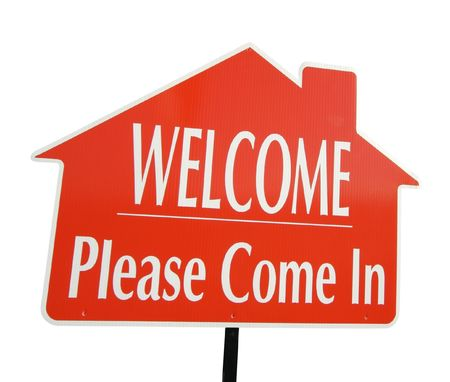 come in: Welcome, Please Come In Real Estate Sign Isolated on White.