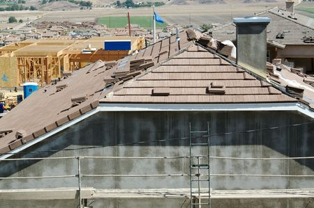 New Home Construction Site, Tiled Roof &Scaffolding.