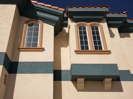 Abstract of New Architectural Details with Spanish Tile and Stucco. Stock Photo - 2130029
