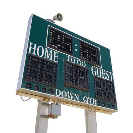 scoreboard: HIgh School Score Board Isolated on White.