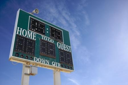 scoreboard: HIgh School Score Board on a Blue Sky
