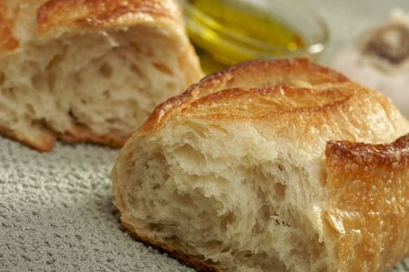 epicurean: Sourdough Bread and Olive Oil with Narrow Depth of Field