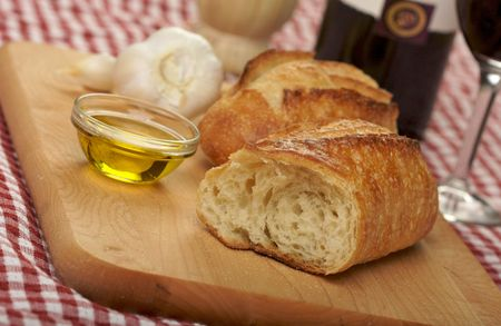 Sourdough Bread on Cutting Board with Narrow Depth of Field Stock Photo