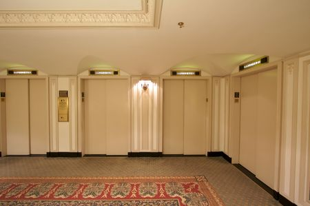 Classic Elevator Lobby Interior of a Hotel