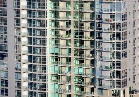 Downtown luxury apartments in the afternoon sunlight. Stock Photo