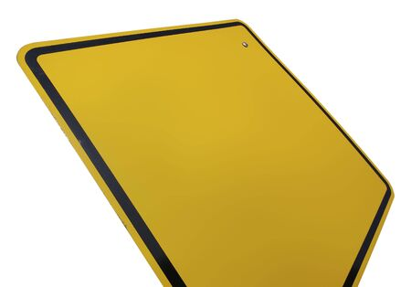 Blank Yellow Road Sign Isolated on White with Clipping Path. Stock Photo - 2483077
