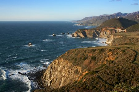 Big Sur Coastline and Pacific Coast Highway One Late Afternoon. photo