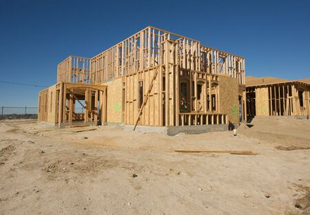 New Home Construction Site against a deep blue sky. Stock Photo - 2530934