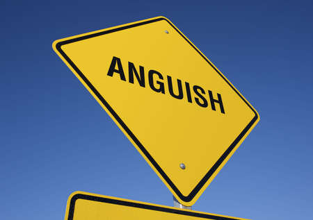 anguish: Anguish road sign with deep blue sky background.  Stock Photo