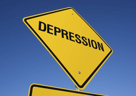 affliction: Depression road sign with deep blue sky background.   Stock Photo