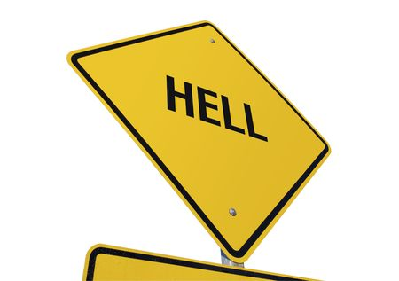 affliction: Hell road sign isolated on a white background.