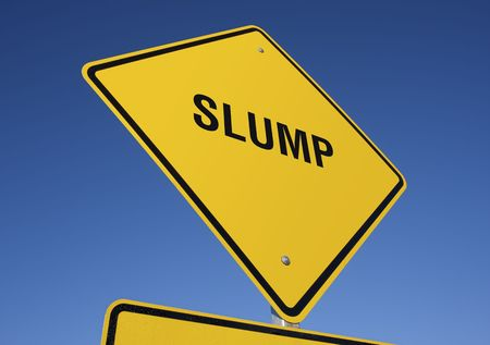 slump: Slump road sign with deep blue sky background.