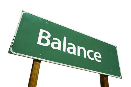 harmonize: Balance road sign isolated on a white background. Stock Photo