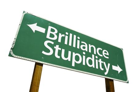 brilliance: Brilliance &amp, Stupidity road sign isolated on a white background.