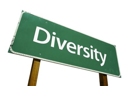 heterogeneity: Diversity road sign isolated on a white background. Stock Photo