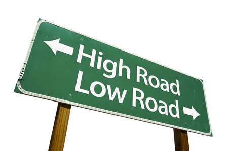 High Road, Low Road road sign isolated on a white background.  photo