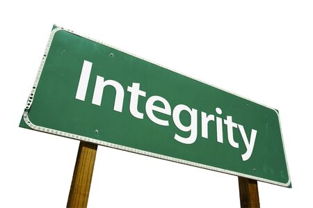 rectitude: Integrity road sign isolated on a white background. Stock Photo
