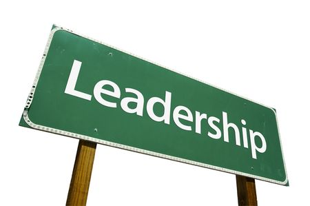 Leadership road sign isolated on a white background. photo