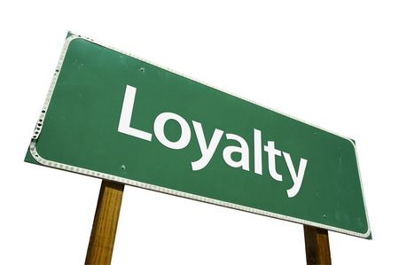 zeal: Loyalty road sign isolated on a white background.  Stock Photo