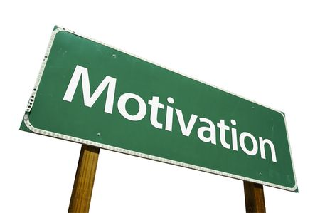 instigation: Motivation road sign isolated on a white background. Stock Photo