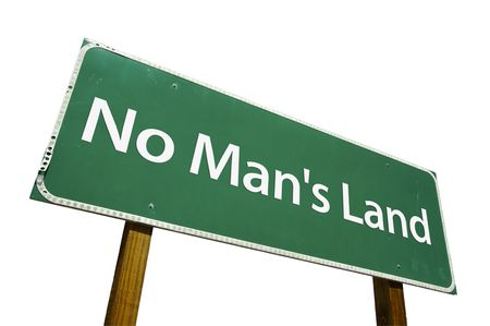 mans watch: No Mans Land road sign isolated on a white background.