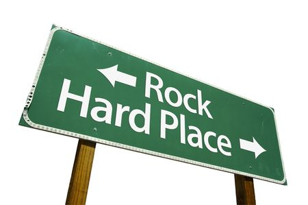 hard: Rock, Hard Place road sign isolated on a white background.