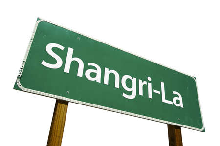 immortality: Shangri-La road sign isolated on a white background.