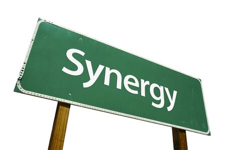 combined effort: Synergy road sign isolated on a white background. Stock Photo